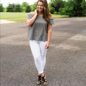 J. Crew • Gingham Off The Shoulder Top